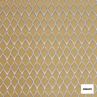 Sekers Cristobal 140cm - Mimosa  | Curtain Fabric - Gold, Yellow, Mediterranean, Uncoated, Geometric, Lattice, Trellis, Ogee, Fibre Blend
