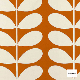 Sekers Giant Stem 140cm - Orange  | Curtain Fabric - Orange, Floral, Garden, Botantical, Uncoated, Natural, Pattern, Natural Fibre, Standard Width