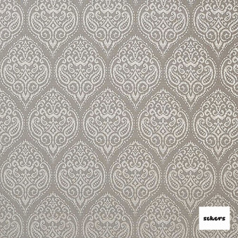 Sekers Mendoza 140cm - Ash  | Curtain Fabric - Beige, Uncoated, Damask, Ogee, Pattern, Fibre Blend, Standard Width