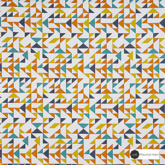 Maurice Kain Tangram 138cm - Marmalade    Curtain Fabric - Gold, Yellow, Contemporary, Uncoated, Geometric, Abstract, Natural, Triangles