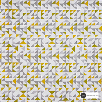 Maurice Kain Tangram 138cm - Mojito    Curtain Fabric - Gold, Yellow, Contemporary, Uncoated, Geometric, Abstract, Natural, Triangles, Natural Fibre