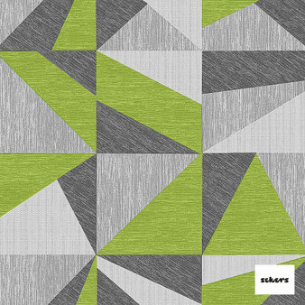 Sekers Zircon 298cm - Acid  | Curtain Fabric - Green, Contemporary, Uncoated, Wide-Width, Geometric, Abstract, Triangles