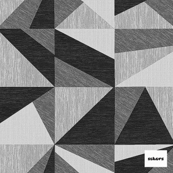 Sekers Zircon 298cm - Onyx  | Curtain Fabric - Black, Charcoal, Contemporary, Uncoated, Wide-Width, Geometric, Abstract, Triangles