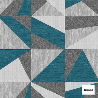 Sekers Zircon 298cm - Peacock  | Curtain Fabric - Green, Contemporary, Uncoated, Wide-Width, Geometric, Abstract, Triangles
