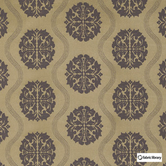 Fabric Library - Abzu Lilac  | Curtain & Upholstery fabric - Brown, Mid Century Modern, Circles, Ogee, Medallion, Fibre Blend, Standard Width