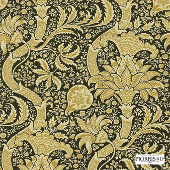 Morris and Co - Indian DMOWIN101  | Wallpaper, Wallcovering - Fire Retardant, Gold, Yellow, Floral, Garden, Botantical, Traditional, Jacobean, Damask