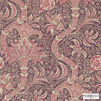 Morris and Co - Indian DMOWIN102  | Wallpaper, Wallcovering - Fire Retardant, Red, Jacobean