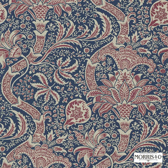 Morris and Co - Indian DMOWIN103  | Wallpaper, Wallcovering - Fire Retardant, Blue, Floral, Garden, Botantical, Traditional, Jacobean, Craftsman