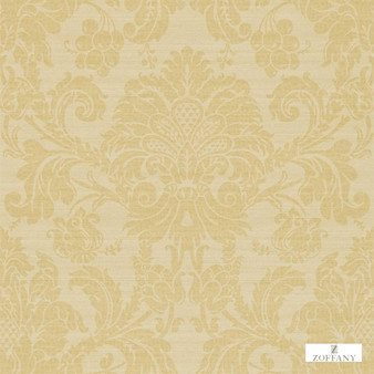 Zoffany Crivelli ZCDW02002  | Wallpaper, Wallcovering - Fire Retardant, Gold, Yellow, Traditional, Damask