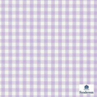 Sanderson Appledore 233890  | Upholstery Fabric - Washable, Pink, Purple, Traditional, Check, Farmhouse, Gingham, Natural, Natural Fibre