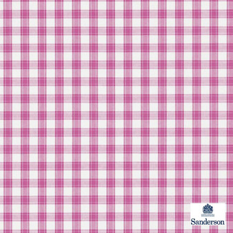 Sanderson Appledore 233892  | Upholstery Fabric - Washable, Pink, Purple, Traditional, Check, Farmhouse, Gingham, Natural, Natural Fibre