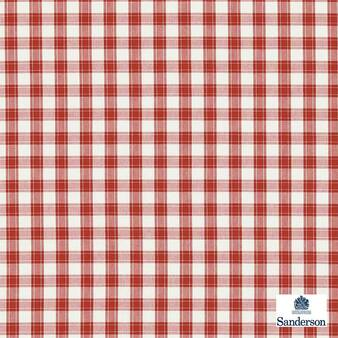 Sanderson Appledore 233893  | Upholstery Fabric - Washable, Red, Traditional, Check, Farmhouse, Gingham, Natural, Natural Fibre, Standard Width