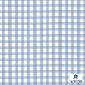Sanderson Appledore 234122  | Upholstery Fabric - Washable, Blue, Traditional, Check, Farmhouse, Gingham, Natural, Natural Fibre, Standard Width