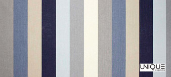 Unique Fabrics Bonheur Corde - Bleu  | Curtain & Upholstery fabric - Blue, Stripe, Traditional, Natural, Natural Fibre, Standard Width