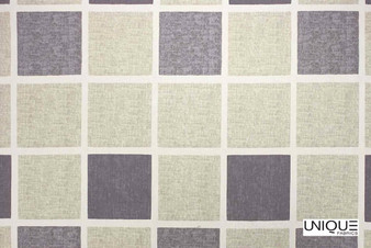 Unique Fabrics Bonheur Courtyard - Aubergine  | Curtain & Upholstery fabric - Grey, Check, Natural, Natural Fibre, Standard Width