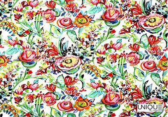 Unique Fabrics Flower Power - Ivory  | Curtain & Upholstery fabric - Red, Floral, Garden, Botantical, Natural, Natural Fibre, Standard Width
