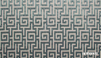 Travers Yorkshire Moncello - 44099/695  | Curtain & Upholstery fabric - Blue, Fret, Greek Key, Traditional, Natural, Natural Fibre, Standard Width