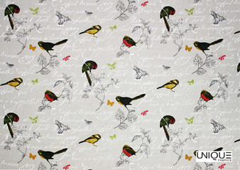 Unique Fabrics Bonheur Petit Avion - Blanc  | Curtain & Upholstery fabric - Grey, Animals, Fauna, Birds, Natural, Natural Fibre, Standard Width