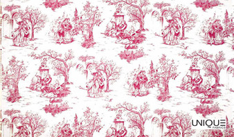 Unique Fabrics Romance - Bleu  | Curtain Fabric - Red, Natural, Toile, Natural Fibre, Standard Width