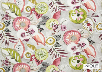 Unique Fabrics Artisan Prints Shalimar - Blush  | Curtain & Upholstery fabric - Green, Floral, Garden, Botantical, Eclectic, Natural, Tropical