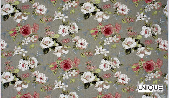 Unique Fabrics Wandering Blooms - Blush    Curtain & Upholstery fabric - Grey, Red, Floral, Garden, Botantical, Traditional, Whites, Natural