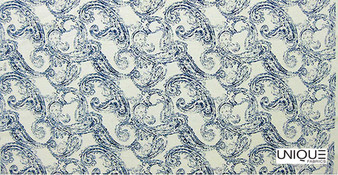 Unique Fabrics Ceramica Antique Paisley - Clay  | Curtain & Upholstery fabric - Blue, Floral, Garden, Botantical, Mediterranean, Paisley, Natural