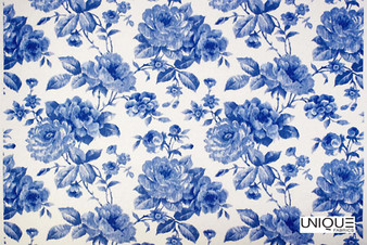 Unique Fabrics Ceramica Antique Rose - Delft  | Curtain & Upholstery fabric - Blue, Floral, Garden, Botantical, Natural, Natural Fibre, Standard Width