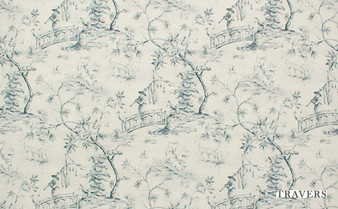 Travers Yorkshire Cathay - 44086/586  | Curtain Fabric - Beige, Blue, Traditional, Natural, Toile, Natural Fibre, Standard Width