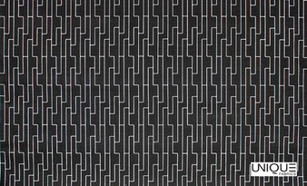 Unique Fabrics Outlines Labyrinth - Chalk  | Upholstery Fabric - Black, Charcoal, Outdoor Use, Eclectic, Geometric, Standard Width