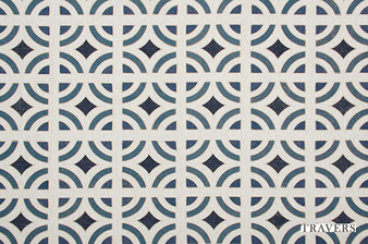Travers New Classics Carson Tile - 44112.396  | Curtain & Upholstery fabric - Blue, Asian, Eclectic, Geometric, Chinoiserie, Chinoise, Tile