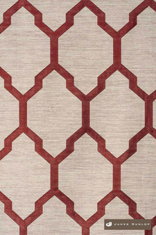 James Dunlop Isobars - Blaze    Curtain & Upholstery fabric - Washable, Red, Mediterranean, Dry Clean, Geometric, Lattice, Trellis, Natural