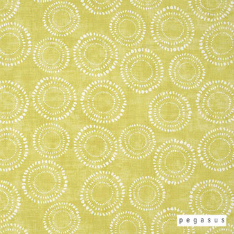 Pegasus Honeybourne - Fennel  | Curtain Fabric - Gold, Yellow, Dry Clean, Geometric, Circles, Dots, Spots, Natural, Natural Fibre, Standard Width