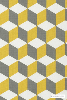 Pegasus Cube - Saffron  | Curtain Fabric - Gold, Yellow, Dry Clean, Geometric, Abstract, Natural, Natural Fibre, Standard Width