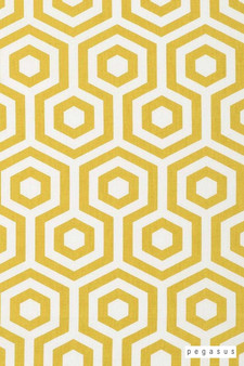 Pegasus Hexagon - Saffron  | Curtain Fabric - Gold, Yellow, Dry Clean, Geometric, Honeycomb, Natural, Natural Fibre, Standard Width
