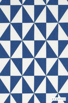 Pegasus Rotation - Cobalt  | Curtain Fabric - Blue, Diamond, Harlequin, Dry Clean, Geometric, Natural, Triangles, Natural Fibre, Standard Width