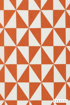 Pegasus Rotation - Tangerine  | Curtain Fabric - Orange, Diamond, Harlequin, Dry Clean, Geometric, Natural, Triangles, Natural Fibre, Standard Width