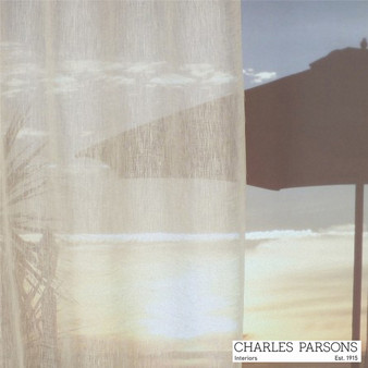 Charles Parsons Parisi - Linen  | Curtain Sheer Fabric - Plain, White, Natural Fibre, Uncoated, Domestic Use, Natural, White, Weighted Hem, Wide Width