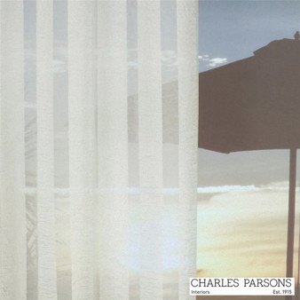 Charles Parsons Lorne - Ivory  | Curtain Sheer Fabric - Fire Retardant, White, Stripe, Synthetic, Uncoated, Washable, Domestic Use, White, Wide Width