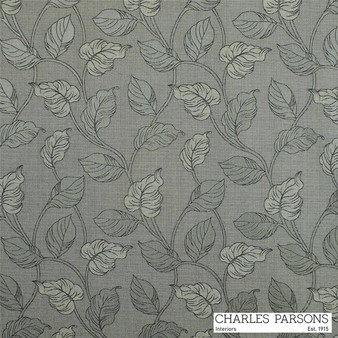 Charles Parsons Marseille - Pewter    Curtain Fabric - Washable, Grey, Floral, Garden, Botantical, Uncoated, Transitional, Craftsman, Fibre Blend