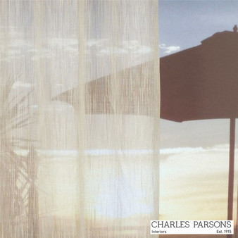 Charles Parsons Uluru - Macadamia  | Curtain Sheer Fabric - Washable, Stripe, Uncoated, Wide-Width, Whites, Fibre Blend