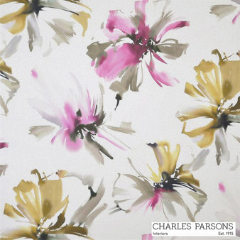 Charles Parsons Tropicana - Pink  | Curtain Fabric - Washable, Pink, Purple, Contemporary, Floral, Garden, Botantical, Uncoated, Standard Width