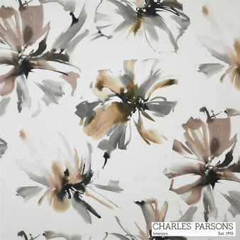 Charles Parsons Tropicana - Mocha  | Curtain Fabric - Washable, Brown, Contemporary, Floral, Garden, Botantical, Uncoated, Standard Width
