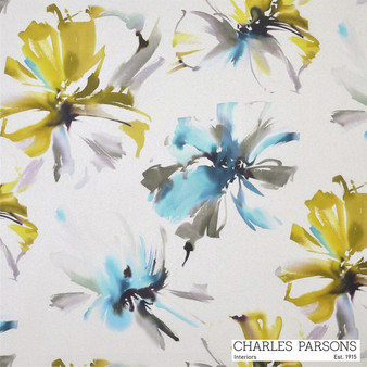 Charles Parsons Tropicana - Turquoise    Curtain Fabric - Blue, Contemporary, Floral, Garden, Multi-Coloured, Synthetic, Uncoated, Washable, Domestic Use, Standard Width