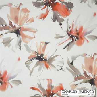 Charles Parsons Tropicana - Watermelon  | Curtain Fabric - Washable, Orange, Contemporary, Floral, Garden, Botantical, Uncoated, Standard Width