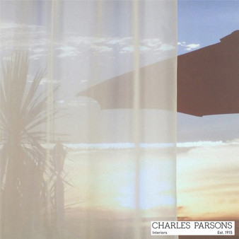 Charles Parsons Venice - Macadamia  | Curtain Sheer Fabric - Beige, Fire Retardant, Plain, Synthetic, Uncoated, Washable, Domestic Use, Weighted Hem, Wide Width