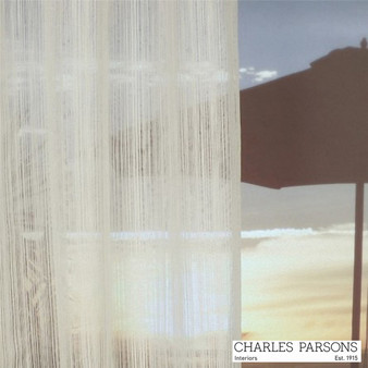 Charles Parsons Wycliffe - Snow  | Curtain Sheer Fabric - White, Industrial, Stripe, Synthetic, Uncoated, Washable, Domestic Use, White, Weighted Hem, Wide Width