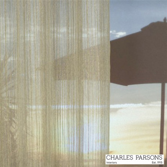 Charles Parsons Wycliffe - Almond    Curtain Sheer Fabric - Washable, Beige, Stripe, Uncoated, Wide-Width