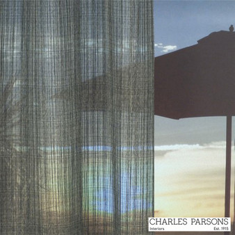 Charles Parsons Wycliffe - Pewter  | Curtain Sheer Fabric - Grey, Industrial, Stripe, Synthetic, Uncoated, Washable, Domestic Use, Weighted Hem, Wide Width
