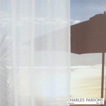 Charles Parsons Sable - White  | Curtain Sheer Fabric - Fire Retardant, Plain, White, Synthetic, Uncoated, Washable, Domestic Use, White, Wide Width