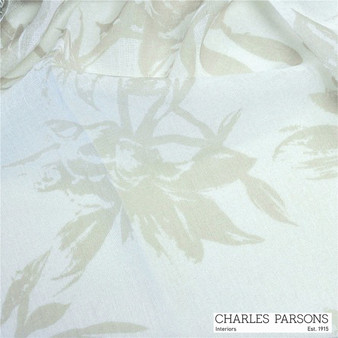Charles Parsons Provence - Sand  | Curtain Sheer Fabric - Beige, Floral, Garden, Synthetic, Uncoated, Washable, Domestic Use, Weighted Hem, Wide Width